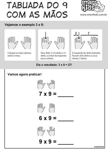 Atividade Tabuada da Multiplicação Tabuada do 9 Com as