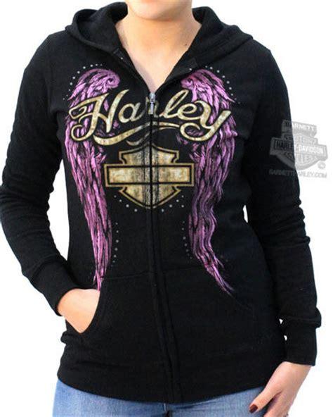 Vest Zipper Hoodie Harley Davidson 06 harley davidson womens lavender wings fleece zip black hoodie jacket ebay