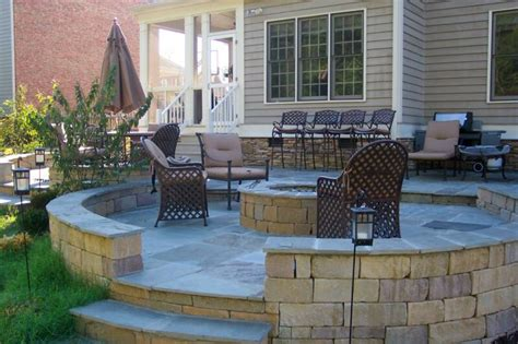 outdoor patio with fire pit landscaping gardening ideas