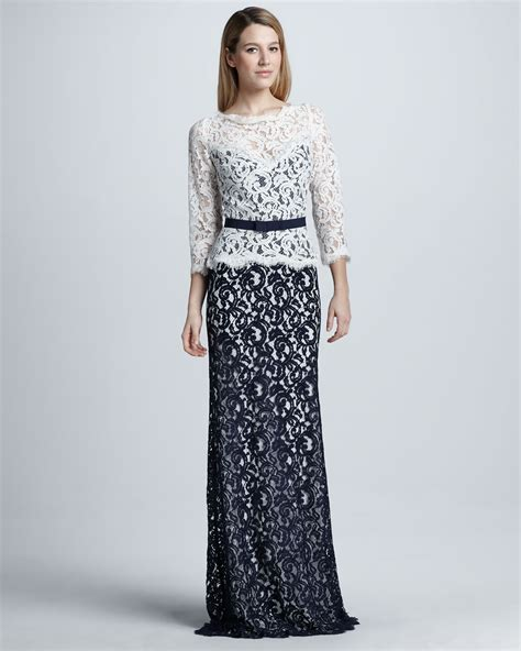 Iconic Gowns Set Stylish Tone For Oscars by Tadashi Shoji Two Tone Lace Combo Gown In Blue Lyst