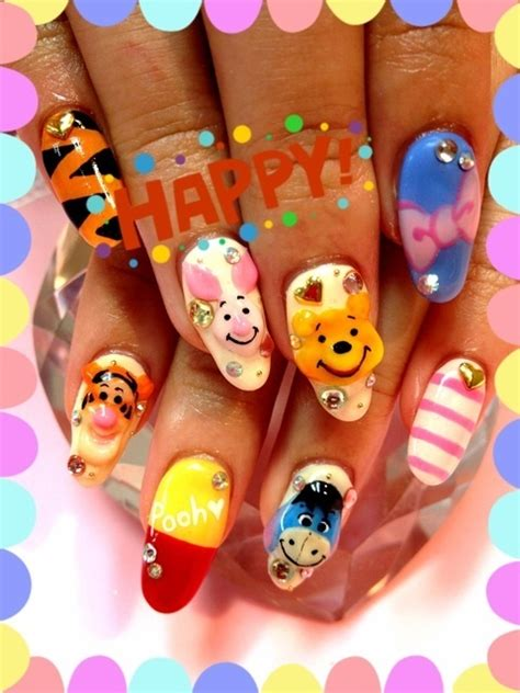 super cute brown bear pattern fake nails japanese pure 1000 images about japanese nail art on pinterest red