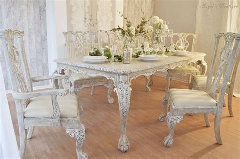 unique french antique shabby chic dining table with six chairs in heybridge essex