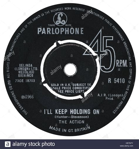 Uk Records 45 Rpm 7 Quot Uk Record Label Of I Ll Keep Holding On By The On Stock Photo