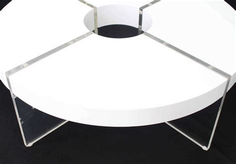 White Acrylic Coffee Table Circle White Lacquer Lucite Coffee Table For Sale At 1stdibs