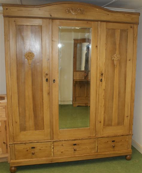 Solid Pine Wardrobe A Stunning 19th Century Large Antique Solid