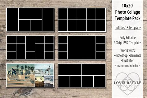 10x20 Photo Collage Template Pack Templates Creative Market 20 Photo Collage Template