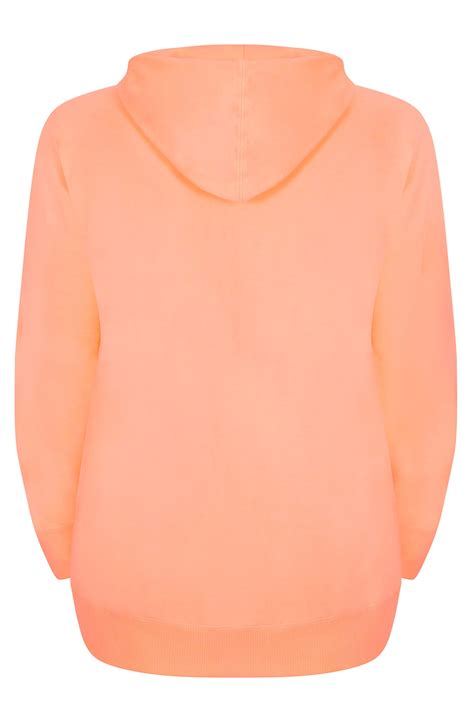Find By Address Only For Free Orange Zip Through Hoodie With Drawstring Plus Size 16 To 36