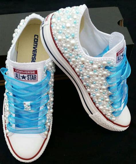 bridal converse wedding converse bling pearls custom