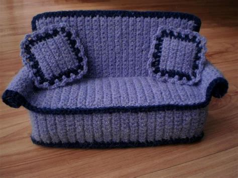 crocheted doll sofa  pillows  crochetdollfurniture