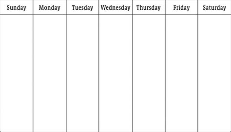 7 day calendar template printable 7 day calendar printable calendar