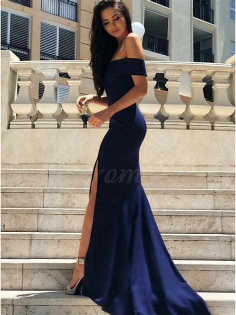Bridesmaid Dresses With Slits Up The Leg - mermaid the shoulder slit leg navy blue prom dress