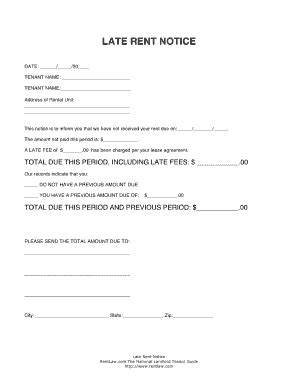 sle eviction notice for unpaid rent late rent notice fill online printable fillable blank