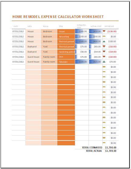 home remodel expense calculator worksheet excel templates