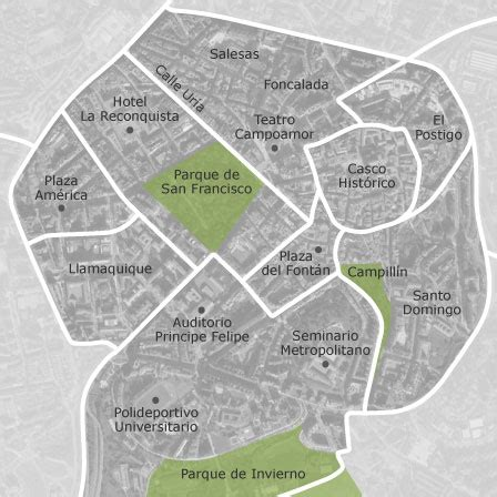 mapa de centro casco historico oviedo idealista