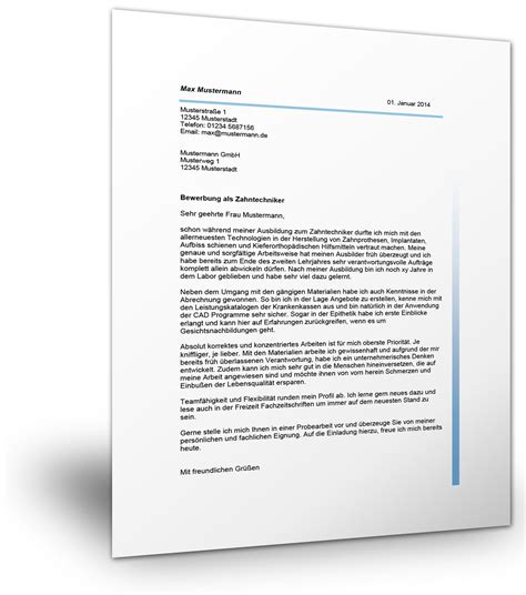 Anschreiben Bewerbung Zahntechniker Bewerbung Als Zahnmedizinische Fachangestellte Mustervorlage