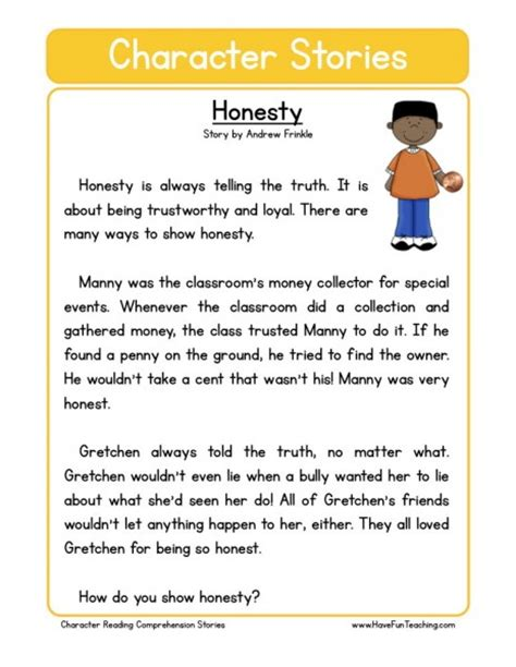 Simple Essay On Truthfulness by Reading Comprehension Worksheet Honesty