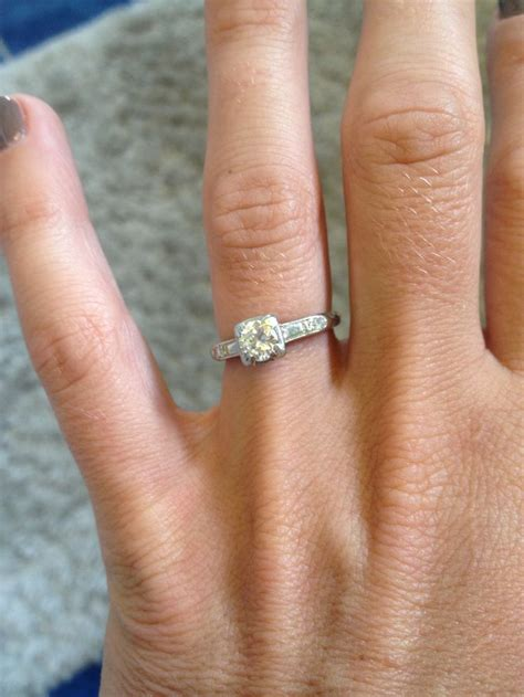 antique engagement ring simple thin band solitaire