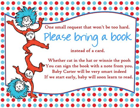 Dr Seuss Baby Shower by Dr Seuss Baby Shower Bring A Book Insert By Createphotocards4u