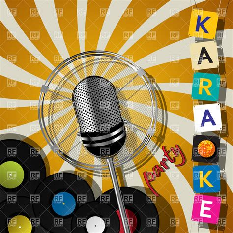 imagenes retro karaoke party card with retro microphone for karaoke events