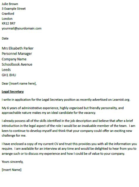 application letter sle cover letter sle legal secretary
