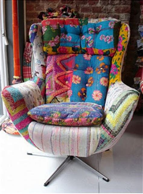 Patchwork Covered Chairs - quilts color patchwork furniture