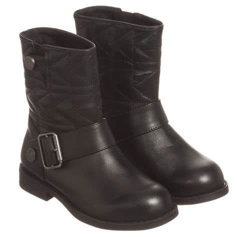 karl lagerfeld black leather biker boots