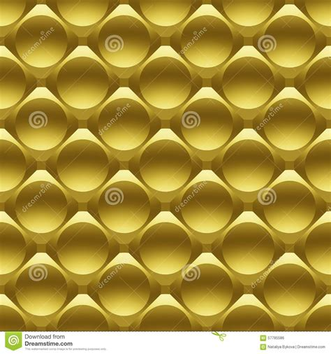 gold effect pattern gold metal circles seamless 3d pattern stock illustration