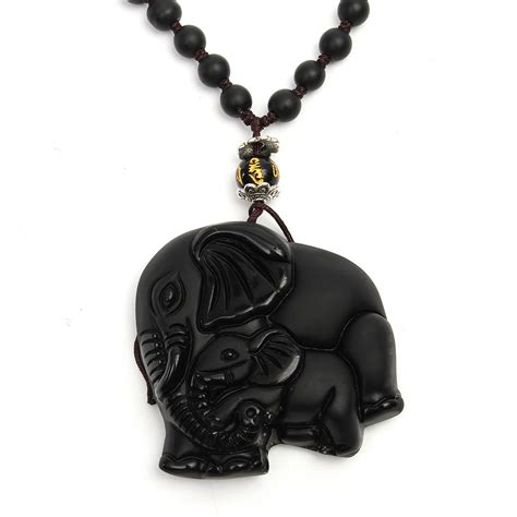 Obsidian Necklace black obsidian lucky elephant pendant carved