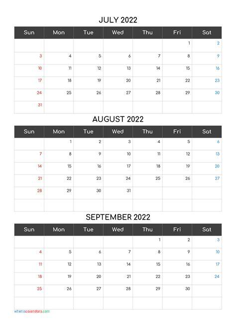 calendar july august september  template codecomf