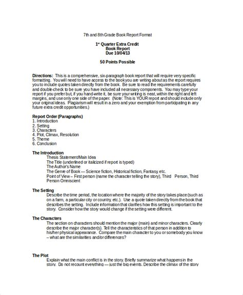 book reports for 7th grade book report format 9 free word pdf documents