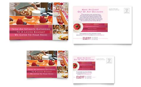 post card template event background corporate event planner caterer postcard template design