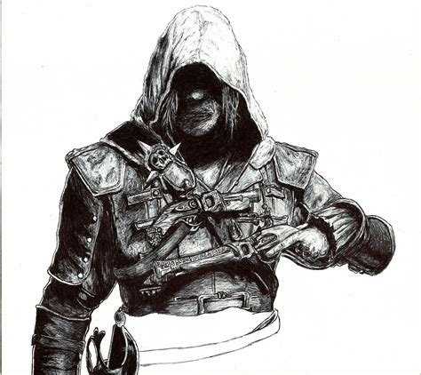 dibujo assassins creed con bic arte taringa