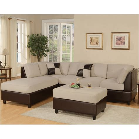 bobkona sectional poundex bobkona hungtinton microfiber faux leather 3 piece
