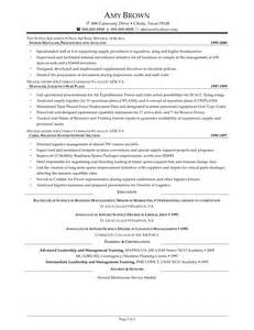 Warehouse Supervisor Resume Sle by Logistics Management Specialist Resumes Management