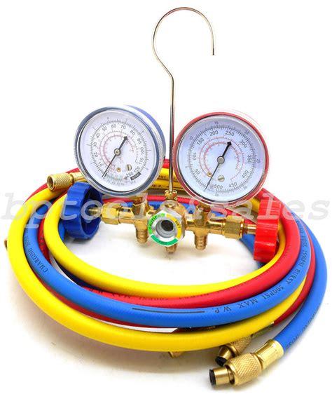Testing Manifold Ac r12 r22 r502 manifold set hvac ac refrigeration test w 6ft charging hoses ebay
