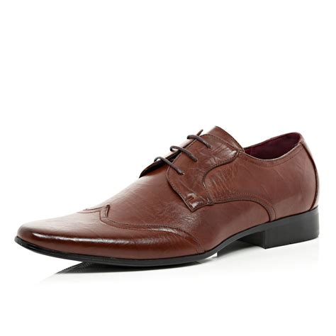 river island shoes river island brown wingtip formal shoes in brown for