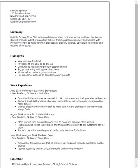 Sle Of Grocery Store Resume Professional Grocery Store Clerk Templates To Showcase Your Talent Myperfectresume
