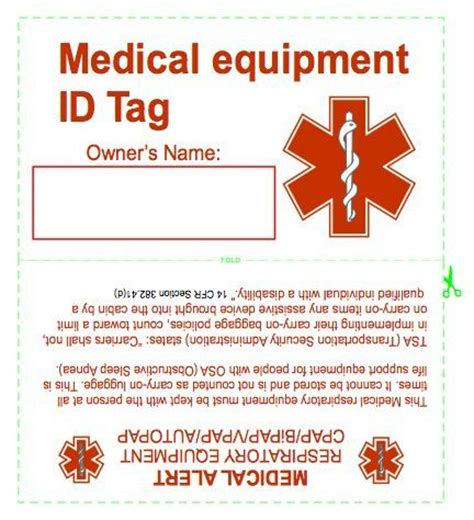 Printable Equipment Tags | cpap medical equipment tag sleepguide