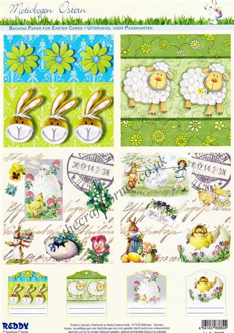 Easter Decoupage - easter rabbits sheep collage designs die cut 3d