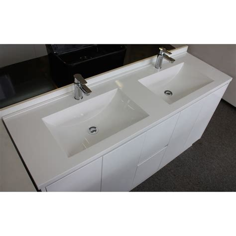 Omega White Polymarble Double Bowl Vanity Top 1800mm Highgrove Bathrooms