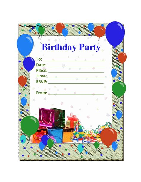 free birthday invitation card templates birthday card template resume builder