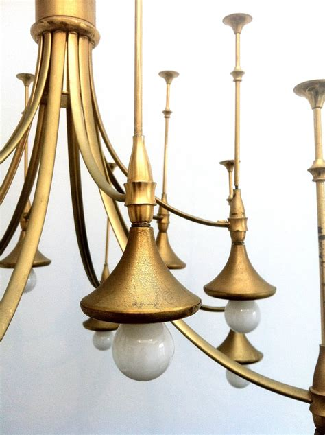 Big Gold Chandelier Large Gold Laquered Chandelier Italy 1960s For Sale At