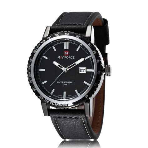 2015 top brand naviforce quartz genuine leather