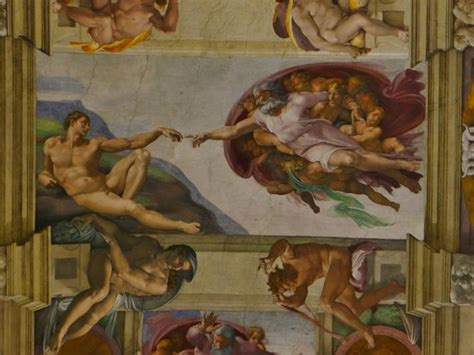 Sistine Chapel Ceiling Painting by Up Of Ceiling Panel By Michaelangelo Downfall Of