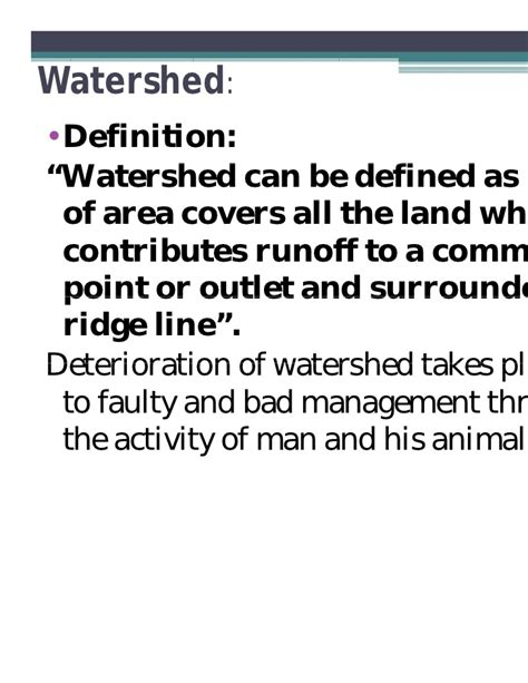 Water Shed Definition by Watershed Management