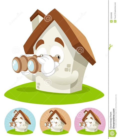 looking for a house house cartoon mascot binocular royalty free stock photos