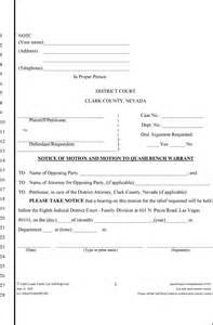 Bench Warrant For Failure To Appear Motion To Quash Bench Warrant Pdf