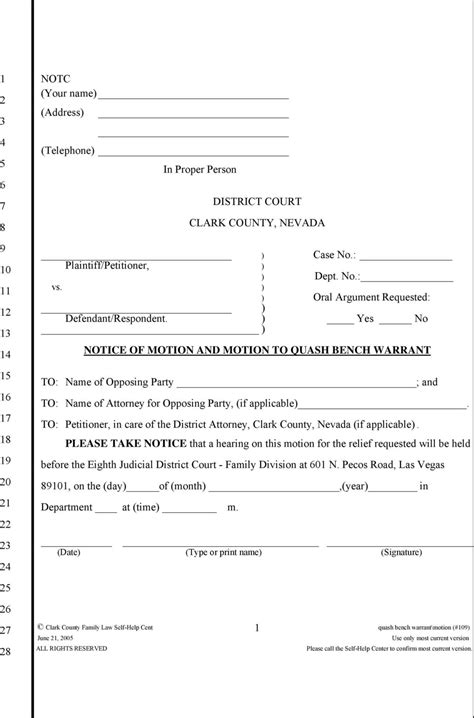 civil bench warrant california sle motion to quash bench warrant motion