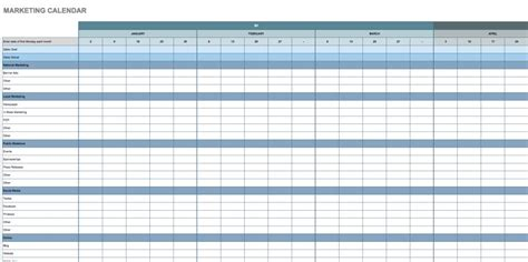 Free Google Calendar Templates Smartsheet Marketing Schedule Template