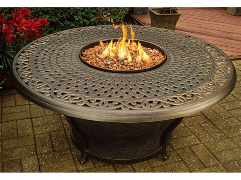 Oakland Living Aluminum Charleston 48 Round Gas Firepit Gas Firepit Tables
